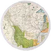 North American Indian Tribes, 1833 Round Beach Towel