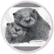 North American River Otters Round Beach Towel
