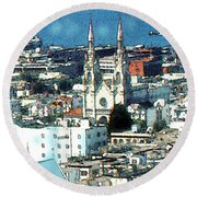 North Beach San Francisco - Watercolor Round Beach Towel