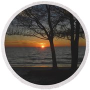 North Beach Sunset Round Beach Towel