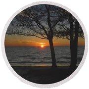 North Beach Sunset Round Beach Towel by David Lee Thompson