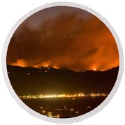 North Boulder Colorado Fire Above In The Hills Round Beach Towel