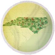 North Carolina Map Square Cities Straight Pin Vintage Round Beach Towel