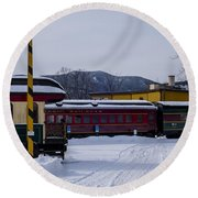 North Conway Nh Scenic Railroad Round Beach Towel