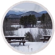 North Conway Winter Mountains Round Beach Towel
