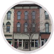 North Country Main Street Of Gouverneur, New York Round Beach Towel