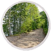 North Country Trail In Pictured Rocks National Lakeshore-michigan  Round Beach Towel