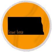 North Dakota Is Home Base Black Round Beach Towel