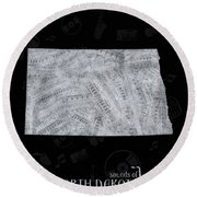 North Dakota Map Music Notes 2 Round Beach Towel