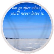 North Dakota Prairie Landscape With Inspirational Text Round Beach Towel