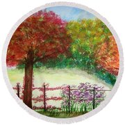 North Fence Round Beach Towel