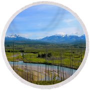 North Fork Flathead River Round Beach Towel