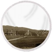 North Hall, Bacon Hall, Library, South Hall, University Of California At Berkeley Circa 1905 Round Beach Towel
