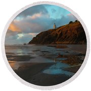 North Head Light Reflections Round Beach Towel