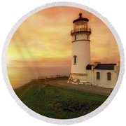 North Head Lighthouse At Sunset Round Beach Towel
