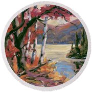 North Lake By Prankearts Round Beach Towel