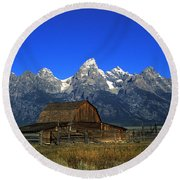 North Moulton Barn Grand Tetons Round Beach Towel