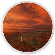 North Rim Storm Clouds Grand Canyon National Park Arizona Round Beach Towel