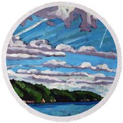 North Shore Stratocumulus Streets Round Beach Towel