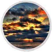 North Shore Sunset Round Beach Towel