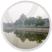 North Wall Of The Forbidden City Beijing China Round Beach Towel