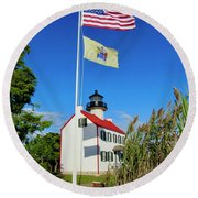 North Wind At East Point Light Round Beach Towel