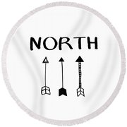 North With Arrows- Art By Linda Woods Round Beach Towel