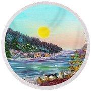 North With Yellow Sun Round Beach Towel