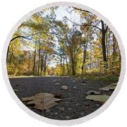 North Woods Road Two Round Beach Towel