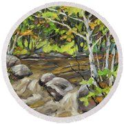 Northerm Stream Woodland Created By Richard T Pranke Round Beach Towel