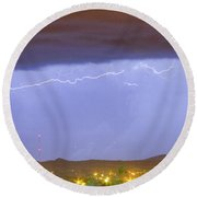 Northern Colorado Rocky Mountain Front Range Lightning Storm  Round Beach Towel by James BO  Insogna