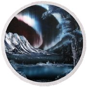 Northern Lights Aurora Borealis Round Beach Towel