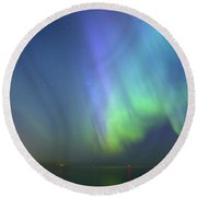 Northern Lights Aurora Borealis In Estonia Round Beach Towel