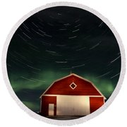 Northern Lights Canada Barn Round Beach Towel