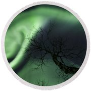 Northern Lights In The Arctic Round Beach Towel