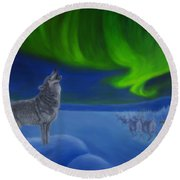Northern Lights Night Round Beach Towel