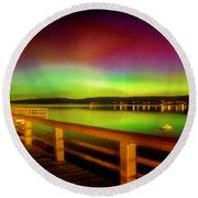 Northern Lights Over Okanagan Lake Canada Round Beach Towel