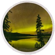 Northern Lights Over The Pines Round Beach Towel