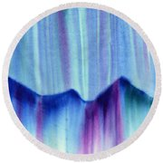 Northern Mountain Lights Round Beach Towel