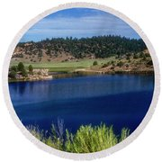Northern New Mexico Lake Round Beach Towel