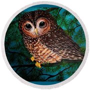 Northern Spotted Owl Round Beach Towel