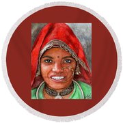 Northindian Woman Round Beach Towel
