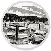 Gig Harbor Yacht Moorage Round Beach Towel