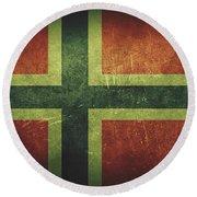 Norway Distressed Flag Dehner Round Beach Towel