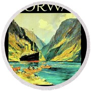 Norway Orient Cruises, Vintage Travel Poster Round Beach Towel