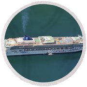Norwegian Star In Geiranger Norway Round Beach Towel