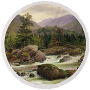 Norwegian Waterfall Round Beach Towel