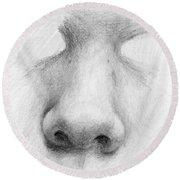 Nose Study - Front Round Beach Towel