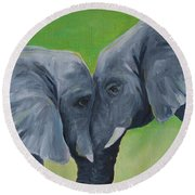 Nose To Nose In Green Round Beach Towel