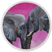 Nose To Nose In Pink Round Beach Towel